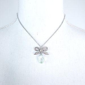 Silvertone Rhinestone Bow Bead Pendant Necklace